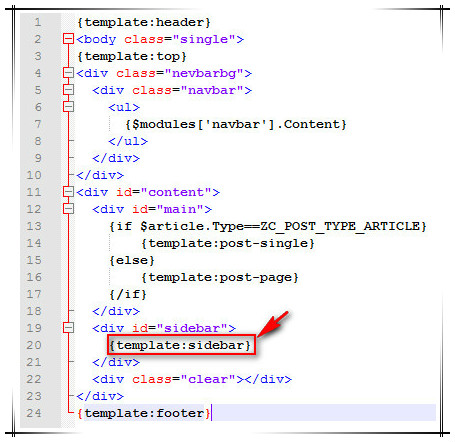 zblog php 首页与文章页设置不同的侧栏